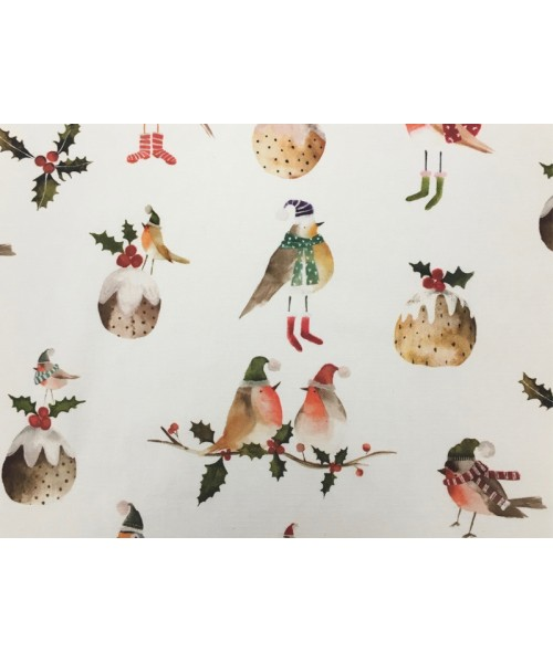 Oilcloth Christmas Robin Holly